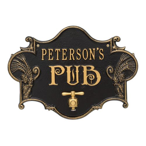 Custom Hops & Barley Beer Pub Plaque , Black /  Gold