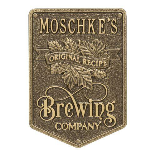 Personalized Original Recipe Brewing Company Beer Plaque, Bronze Verdigris
