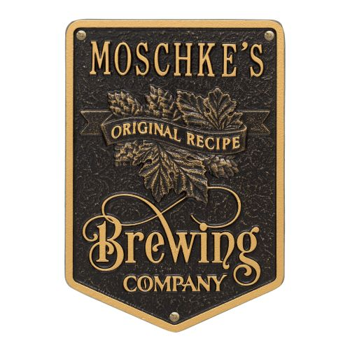 Personalized Original Recipe Brewing Company Beer Plaque, Dark Bronze / Gold