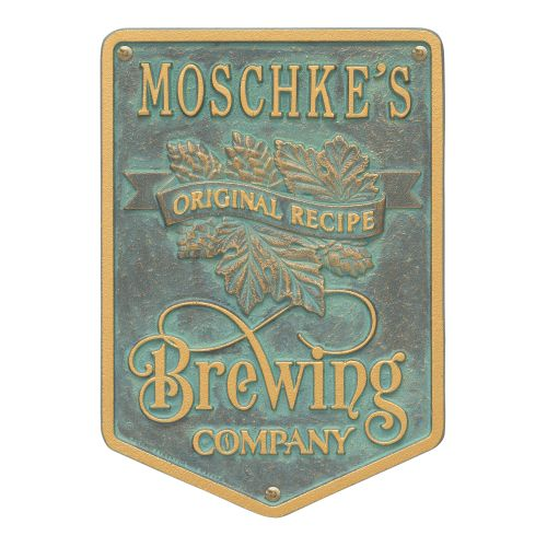 Custom Original Recipe Brewing Company Beer Plaque, Pewter / Silver
