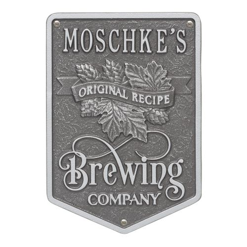 Personalized Original Recipe Brewing Company Beer Plaque, Black / Gold