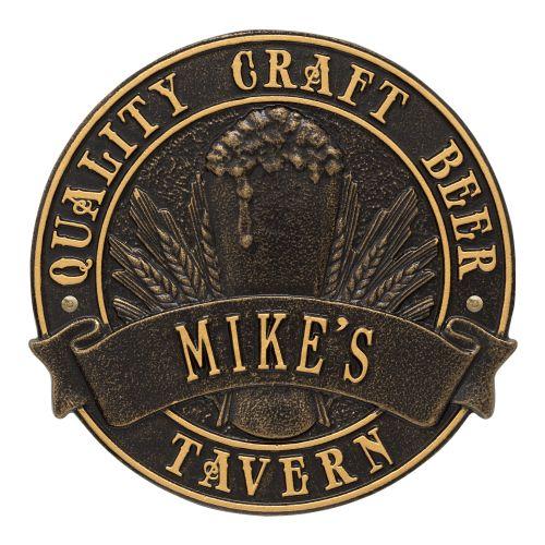 Custom Quality Craft Beer Tavern Round Plaque, Dark Bronze / Gold