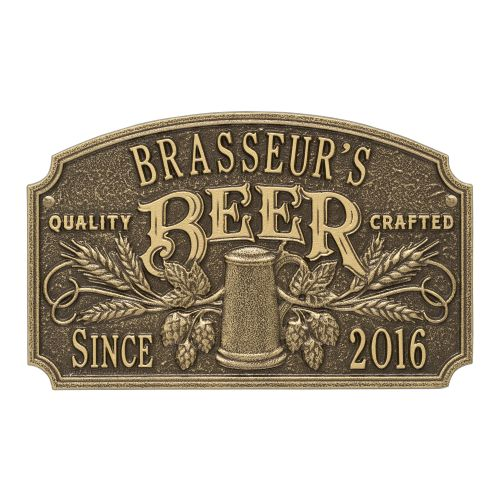 Personalized Quality Crafted Beer Arch Plaque, Bronze Verdigris