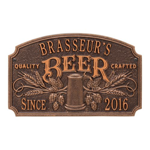 Custom Quality Crafted Beer Arch Plaque, Oil Rubbed Bronze