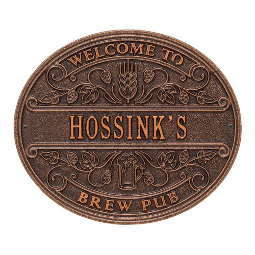 Personalized Brew Pub Welcome Plaque, Oil Rubbed Bronze