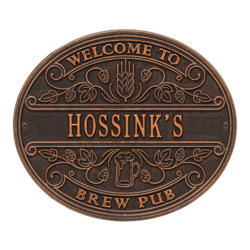 Custom Brew Pub Welcome Plaque, Antique Brass