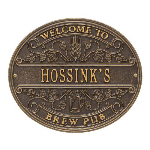 Personalized Brew Pub Welcome Plaque, Antique Copper