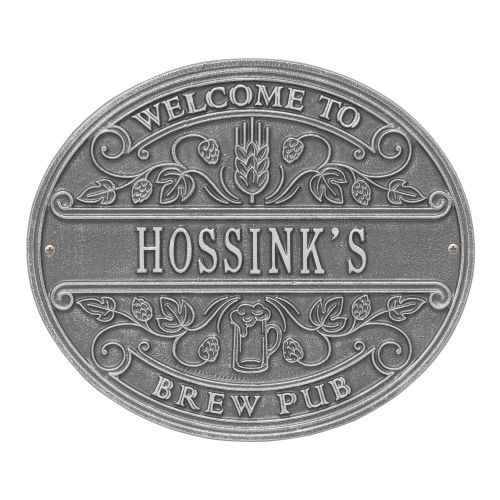 Custom Brew Pub Welcome Plaque, Black / Gold