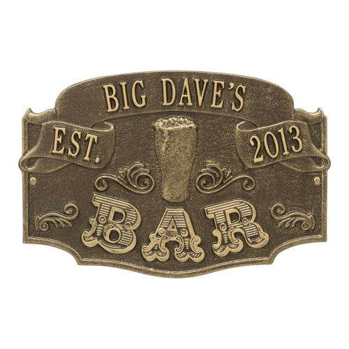 Personalized Established Bar Plaque, Antique Brass