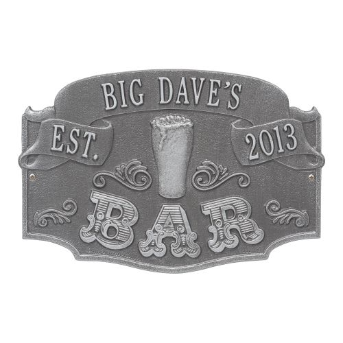 Personalized Established Bar Plaque, Pewter / Silver