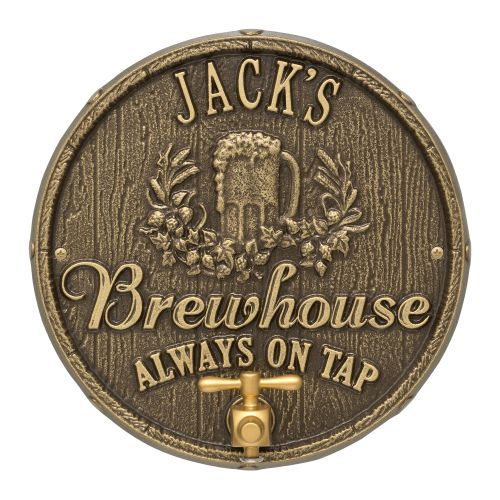 Custom Oak Barrel Beer Pub Plaque, Bronze Verdigris