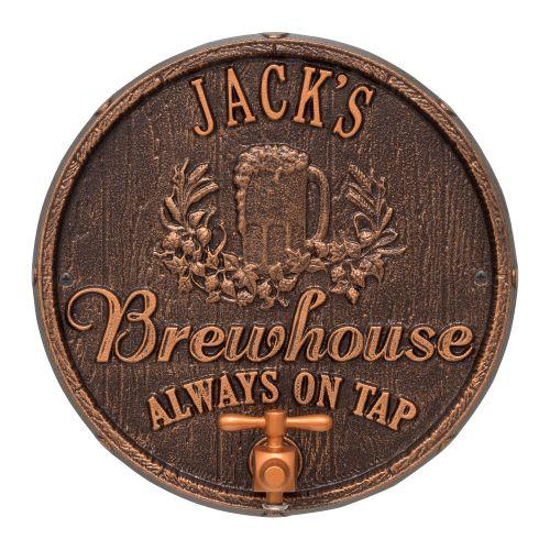 Personalized Oak Barrel Beer Pub Plaque, Oil Rubbed Bronze