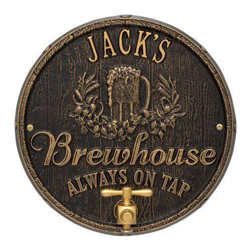 Custom Oak Barrel Beer Pub Plaque, Dark Bronze / Gold