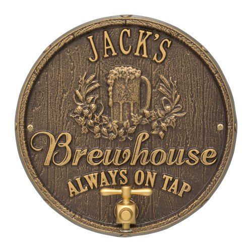 Personalized Oak Barrel Beer Pub Plaque, Antique Copper