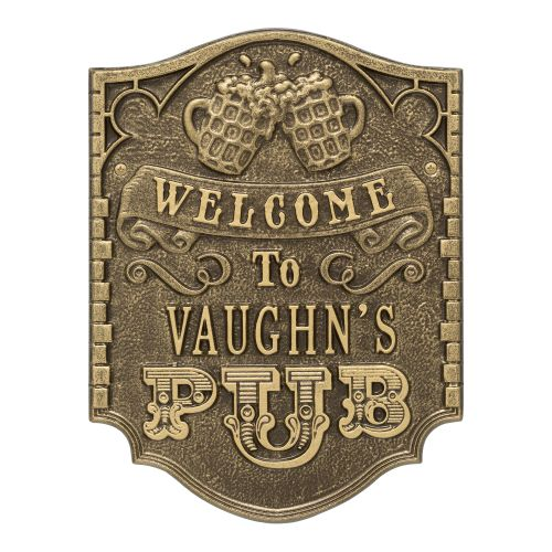 Personalized Pub Welcome Plaque, Bronze Verdigris