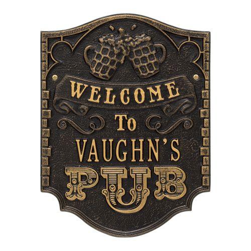 Personalized Pub Welcome Plaque, Dark Bronze / Gold