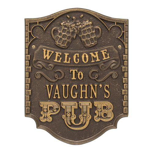 Custom Pub Welcome Plaque, Antique Copper