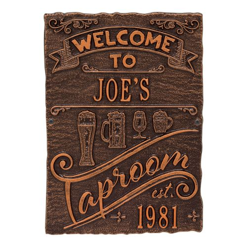 Personalized Tap Room Brew Pub Plaque, Oil Rubbed Bronze