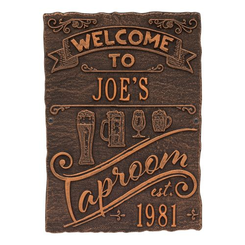 Personalized Tap Room Brew Pub Plaque, Antique Copper
