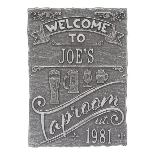 Personalized Tap Room Brew Pub Plaque, Bronze Verdigris