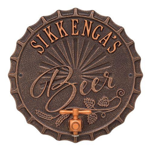 Personalized Bottle Cap Brew Pub Plaque, Oil Rubbed Bronze