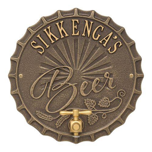 Personalized Bottle Cap Brew Pub Plaque, Antique Copper