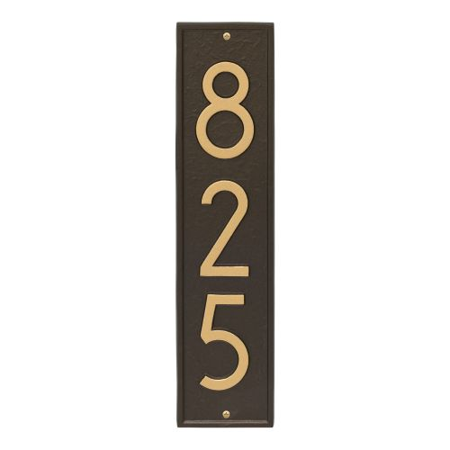 Delaware Modern Personalized Vertical Wall Plaque, Bronze Verdigris