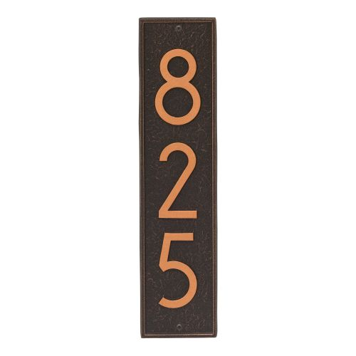 Delaware Modern Personalized Vertical Wall Plaque, Aged Bronze