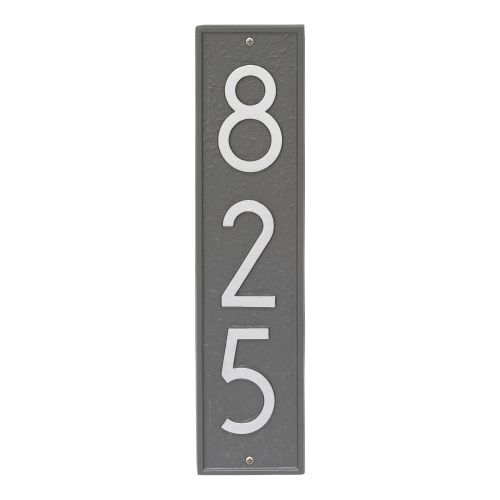 Delaware Modern Personalized Vertical Wall Plaque, Black/Silver