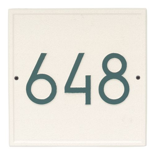 Square Modern Personalized Wall Plaque, White/Black