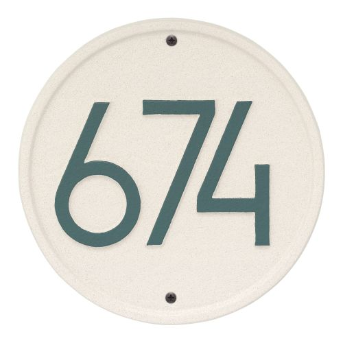 Round Modern Personalized Wall Plaque, White/Black
