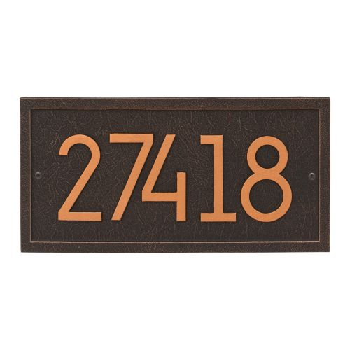 Rectangle Modern Personalized Wall Plaque, Aged Bronze