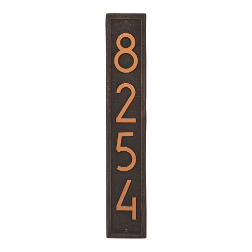 Vertical Modern Personalized Wall Plaque , Aged Bronze