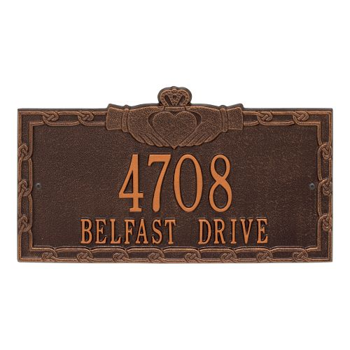 Claddagh Address Plaque, Pewter/Silver