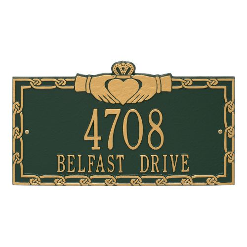 Claddagh Address Plaque, Aged Bronze