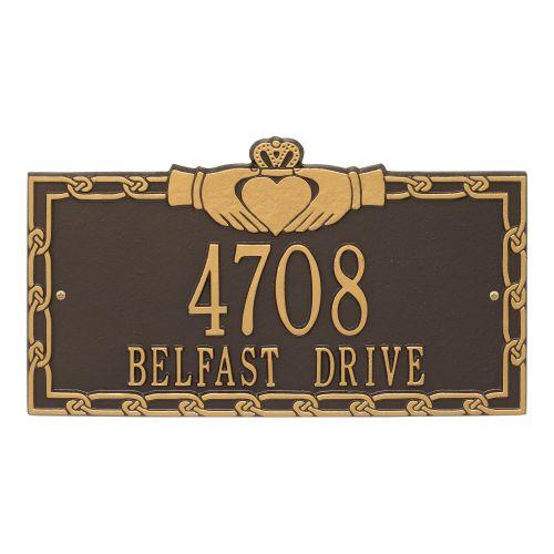 Claddagh Address Plaque, Dark Bronze Gold
