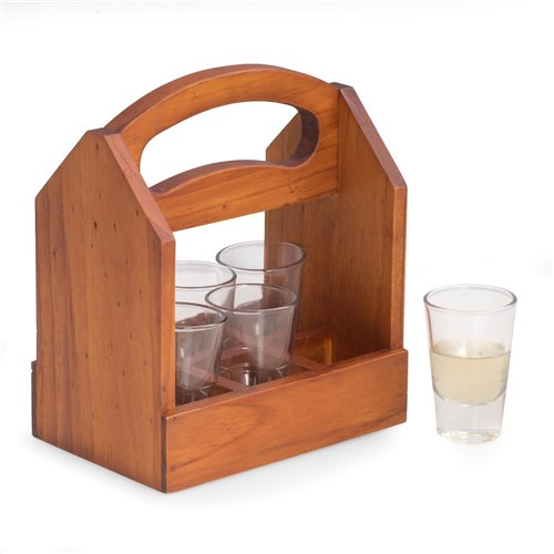 Solid Wood Six Shot Glass Caddy with Ergonomic Curved Built in Handle