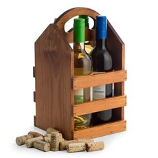 Solid Wood Four Bottle Caddy with Ergonomic Curved Built in Handle Accomodates most Pint Sized Craft Beer Bottles