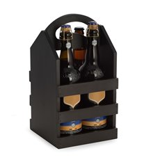 Black Solid Wood Four Bottle Caddy with Ergonomic Curved Built in Handle Accomodates most Pint Sized Craft Beer Bottles