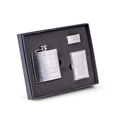 Three Piece Gift Set with Stainless Steel 6 oz Flask, Business Card Case and Money Clip