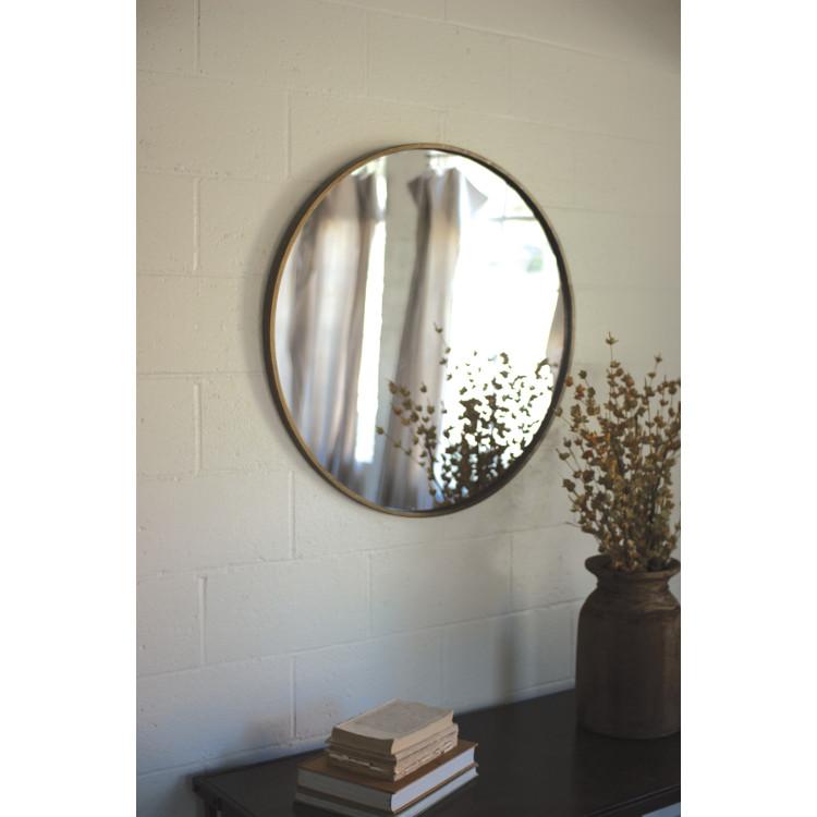 Round Antique Brass Framed Mirror
