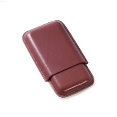Cognac Leather Telescoping Three Cigar Case
