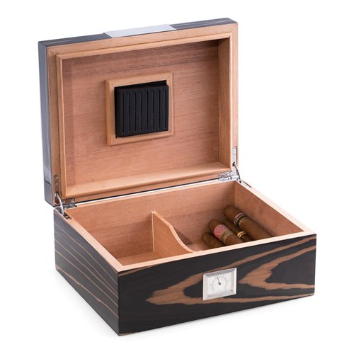 Lacquered Ebony Wood 60 Cigar Humidor with Spanish Cedar Lining and Stainless Steel Accents