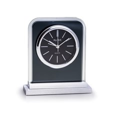 Lachin Glass Alarm Clock with Brushed Stainless Steel Accents