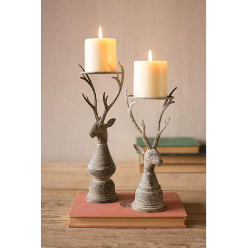 Deer Pillar Candle Holders Set of 2