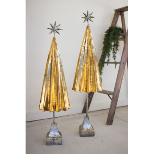 Folded Gold Metal Trees With Silver Star Set of Two