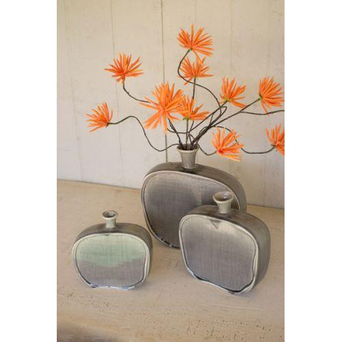 Ceramic Flat Bottles With Textured Grey Finish Set of 3