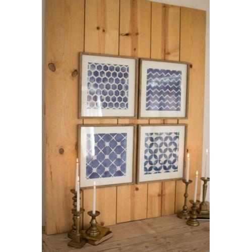 Blue Block Geometric Prints Under Glass Set of 4