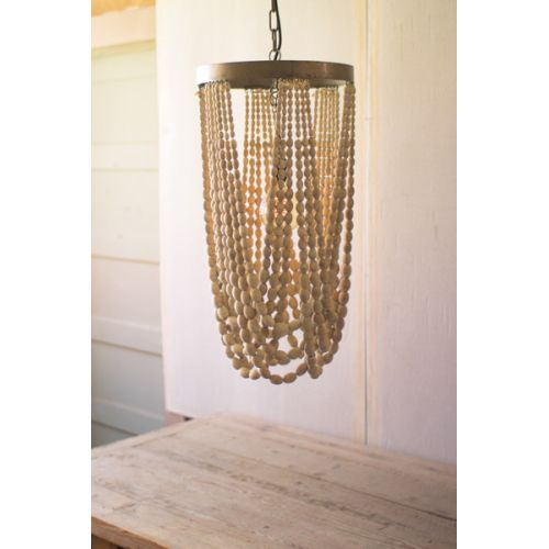 Draping Wooden Bead Chandelier