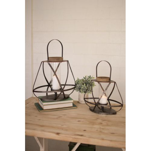 Metal Straps And Glass Lanterns Set of Two